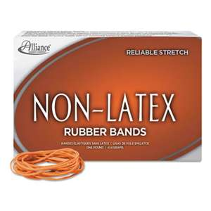 ALLIANCE RUBBER Non-Latex Rubber Bands, Sz. 19, Orange, 3-1/2 x 1/16, 1750 Bands/1lb Box