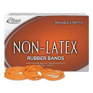 ALLIANCE RUBBER Non-Latex Rubber Bands, Sz. 54, Orange, Sizes 19/33/64 (Mix), 1lb Box