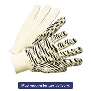 ANCHOR 1000 Series PVC Dotted Canvas Gloves, White/Black, Large, 12 Pairs