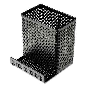 ARTISTIC LLC Urban Collection Punched Metal Pencil Cup/Cell Phone Stand, 3 1/2 x 3 1/2, Black