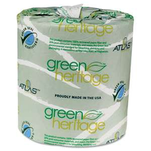 ATLAS PAPER MILLS Green Heritage Toilet Tissue, 4 1/2 x 3 1/2 Sheets, 2-Ply, 500/Roll, 96 Rolls/CT