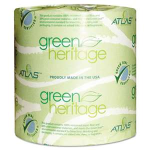 ATLAS PAPER MILLS Green Heritage Toilet Tissue, 4 1/10 x 3 1/10 Sheets, 2Ply, 500/Roll, 96 Roll/CT