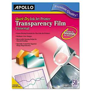 APOLLO AUDIO VISUAL Quick Dry Universal Inkjet Printer Transparency Film, 50 Sheets/Box