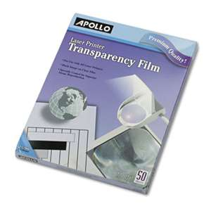 APOLLO AUDIO VISUAL B/W Laser Transparency Film w/o Sensing Stripe, Letter, Clear, 50/Box