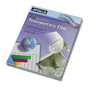 Apollo CG7070 Color Laser-Device Transparency Film, Letter, Clear, 50/Box
