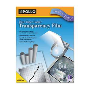 Apollo PP201C Plain Paper Transparency Film for Laser Devices, Removable Stripe, Clear, 100/BX