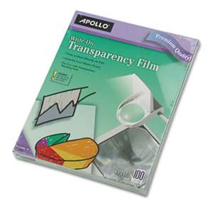APOLLO AUDIO VISUAL Write-On Transparency Film, Letter, Clear, 100/Box