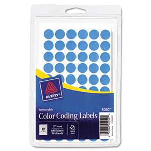 "AVERY-DENNISON Handwrite Only Removable Round Color-Coding Labels, 1/2"" dia, Light Blue, 840/PK"