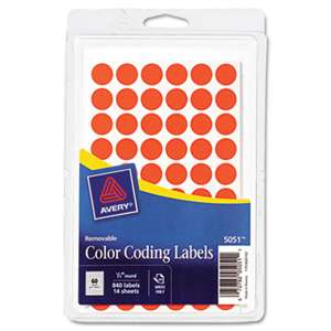 "AVERY-DENNISON Handwrite Only Removable Round Color-Coding Labels, 1/2"" dia, Neon Red, 840/Pack"