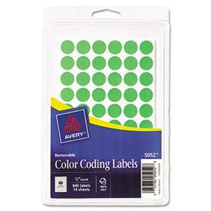 "AVERY-DENNISON Handwrite Only Removable Round Color-Coding Labels, 1/2"" dia, Neon Green, 840/PK"