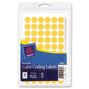 "AVERY-DENNISON Handwrite Only Removable Round Color-Coding Labels, 1/2"" dia, Neon Orange,840/PK"