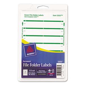 AVERY-DENNISON Print or Write File Folder Labels, 11/16 x 3 7/16, White/Green Bar, 252/Pack