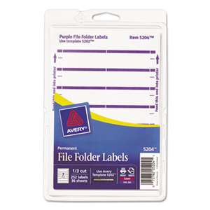 AVERY-DENNISON Print or Write File Folder Labels, 11/16 x 3 7/16, White/Purple Bar, 252/Pack