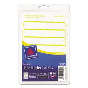 AVERY-DENNISON Print or Write File Folder Labels, 11/16 x 3 7/16, White/Yellow Bar, 252/Pack