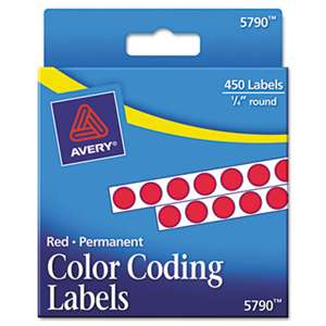 "AVERY-DENNISON Permanent Self-Adhesive Round Color-Coding Labels, 1/4"" dia, Red, 450/Pack"