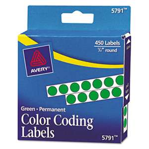 "AVERY-DENNISON Permanent Self-Adhesive Round Color-Coding Labels, 1/4"" dia, Green, 450/Pack"