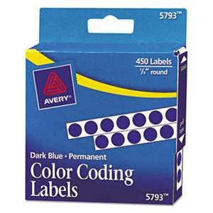 "AVERY-DENNISON Permanent Self-Adhesive Round Color-Coding Labels, 1/4"" dia, Dark Blue, 450/Pack"
