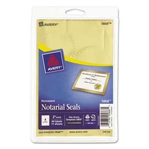 "AVERY-DENNISON Printable Gold Foil Seals, 2"" dia, 44/Pack"