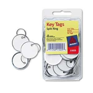 AVERY-DENNISON Card Stock Metal Rim Key Tags, 1 1/4 dia, White, 50/Pack