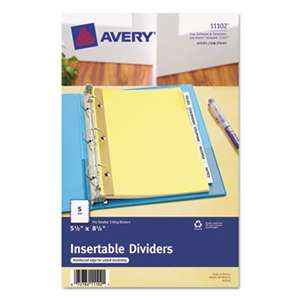 AVERY-DENNISON Insertable Standard Tab Dividers, 5-Tab, 8 1/2 x 5 1/2