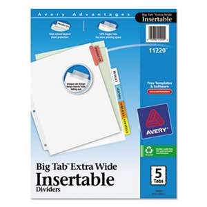 AVERY-DENNISON Insertable Big Tab Dividers, 5-Tab, 11 1/8 x 9 1/4
