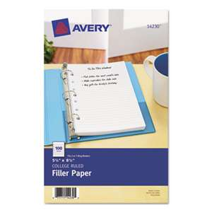 AVERY-DENNISON Mini Binder Filler Paper, 5-1/2 x 8 1/2, 7-Hole Punch, College Rule, 100/Pack