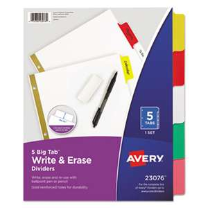 AVERY-DENNISON Write & Erase Big Tab Paper Dividers, 5-Tab, Letter