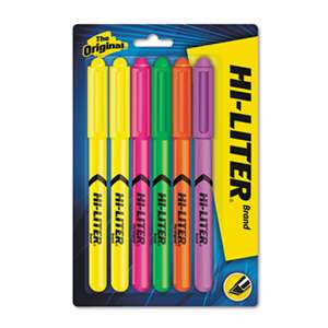 AVERY-DENNISON Pen Style Highlighter, Chisel, Assorted Fluorescent Colors, 6/Set