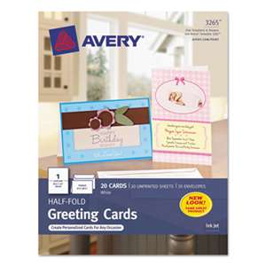 AVERY-DENNISON Half-Fold Greeting Cards, Inkjet, 5 1/2 x 8 1/2, Matte White, 20/Box w/Envelopes