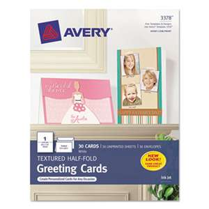 AVERY-DENNISON Textured Half-Fold Greeting Cards, Inkjet, 5 1/2 x 8 1/2, Wht, 30/Bx w/Envelopes