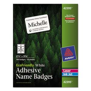 AVERY-DENNISON EcoFriendly Adhesive Name Badge Labels, 2 1/3 x 3 3/8, White, 160/Box