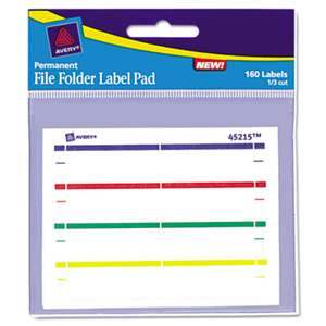 AVERY-DENNISON Label Pads, File Folder, Permanent, 2/3 x 3 7/16, Assorted, 160/Pack