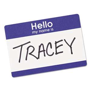 "AVERY-DENNISON Printable Self-Adhesive Name Badges, 2-11/32 x 3-3/8, Blue ""Hello"", 100/Pack"