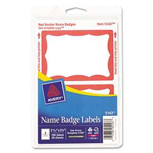 AVERY-DENNISON Printable Self-Adhesive Name Badges, 2-11/32 x 3-3/8, Red Border, 100/Pack