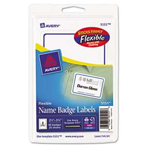 AVERY-DENNISON Flexible Self-Adhesive Laser/Inkjet Badge Labels, 2 11/32 x 3 3/8, BE, 40/PK