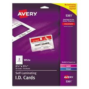 AVERY-DENNISON Laminated Laser/Inkjet ID Cards, 2 1/4 x 3 1/2, White, 30/Box