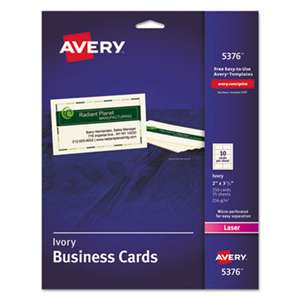 AVERY-DENNISON Printable Microperf Business Cards, Laser, 2 x 3 1/2, Ivory, Uncoated, 250/Pack