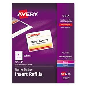 AVERY-DENNISON Additional Laser/Inkjet Inserts, 3 x 4, White, 300/Box