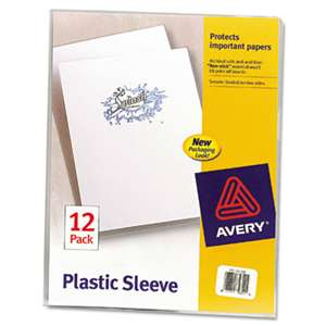 AVERY-DENNISON Clear Plastic Sleeves, Polypropylene, Letter, 12/Pack
