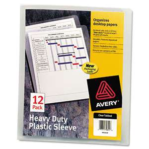 AVERY-DENNISON Heavy-Duty Plastic Sleeves, Letter, Polypropylene, Clear, 12/Pack
