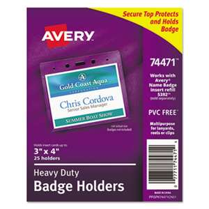 AVERY-DENNISON Secure Top Heavy-Duty Badge Holders, Horizontal, 4w x 3h, Clear, 25/Pack