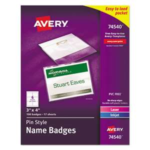 AVERY-DENNISON Badge Holder Kit w/Laser/Inkjet Insert, Top Load, 3 x 4, White, 100/Box