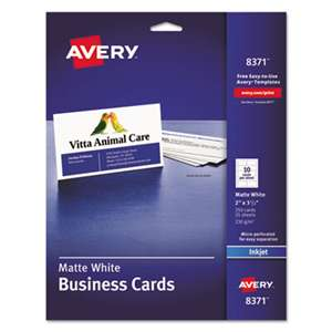 AVERY-DENNISON Printable Microperf Business Cards, Inkjet, 2 x 3 1/2, White, Matte, 250/Pack