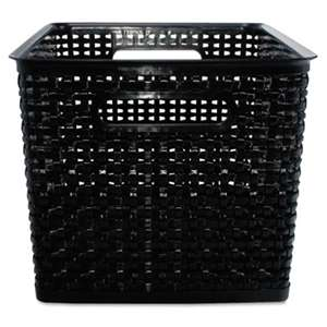 ADVANTUS CORPORATION Weave Bins, 13 7/8 x 10 3/4 x 8 3/4, Plastic, Black, 2 Bins
