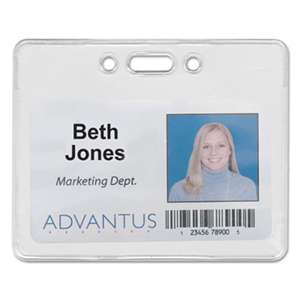 ADVANTUS CORPORATION Proximity ID Badge Holder, Horizontal, 3 3/8w x 2 3/8h, Clear, 50/Pack