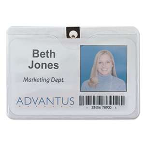 ADVANTUS CORPORATION ID Badge Holder w/Clip, Horizontal, 4w x 3h, Clear, 50/Pack