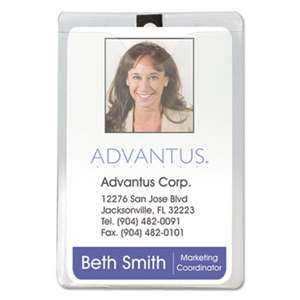 ADVANTUS CORPORATION ID Badge Holder w/Clip, Vertical, 3w x 4h, Clear, 50/Pack