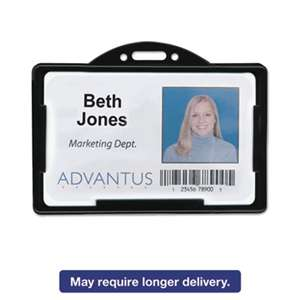 ADVANTUS CORPORATION Horizontal ID Card Holders, 3 3/8 x 2 1/8, Black, 25 per Pack