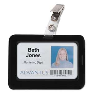 ADVANTUS CORPORATION Rubberized Badge Holder, 2 1/2 x 3 3/4, Horizontal/Vertical, Black, 5/PK