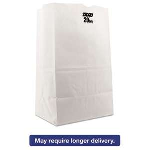 GENERAL SUPPLY #20 Squat Paper Grocery Bag, 40lb White, Std 8 1/4 x 5 15/16 x 13 3/8, 500 bags